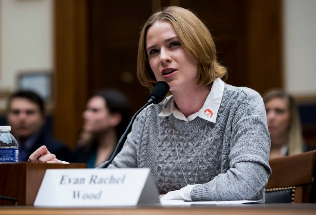 Mandatory Credit: Photo by Bill Clark/CQ-Roll Call/Sipa USA/REX/Shutterstock (9442786d) Actress Evan Rachel Wood testifies during the House Judiciary Committee hearing on Sexual Assault Survivors' Rights House Judiciary Committee hearing on Sexual Assault Survivors' Rights, Washington DC, USA - 27 Feb 2018