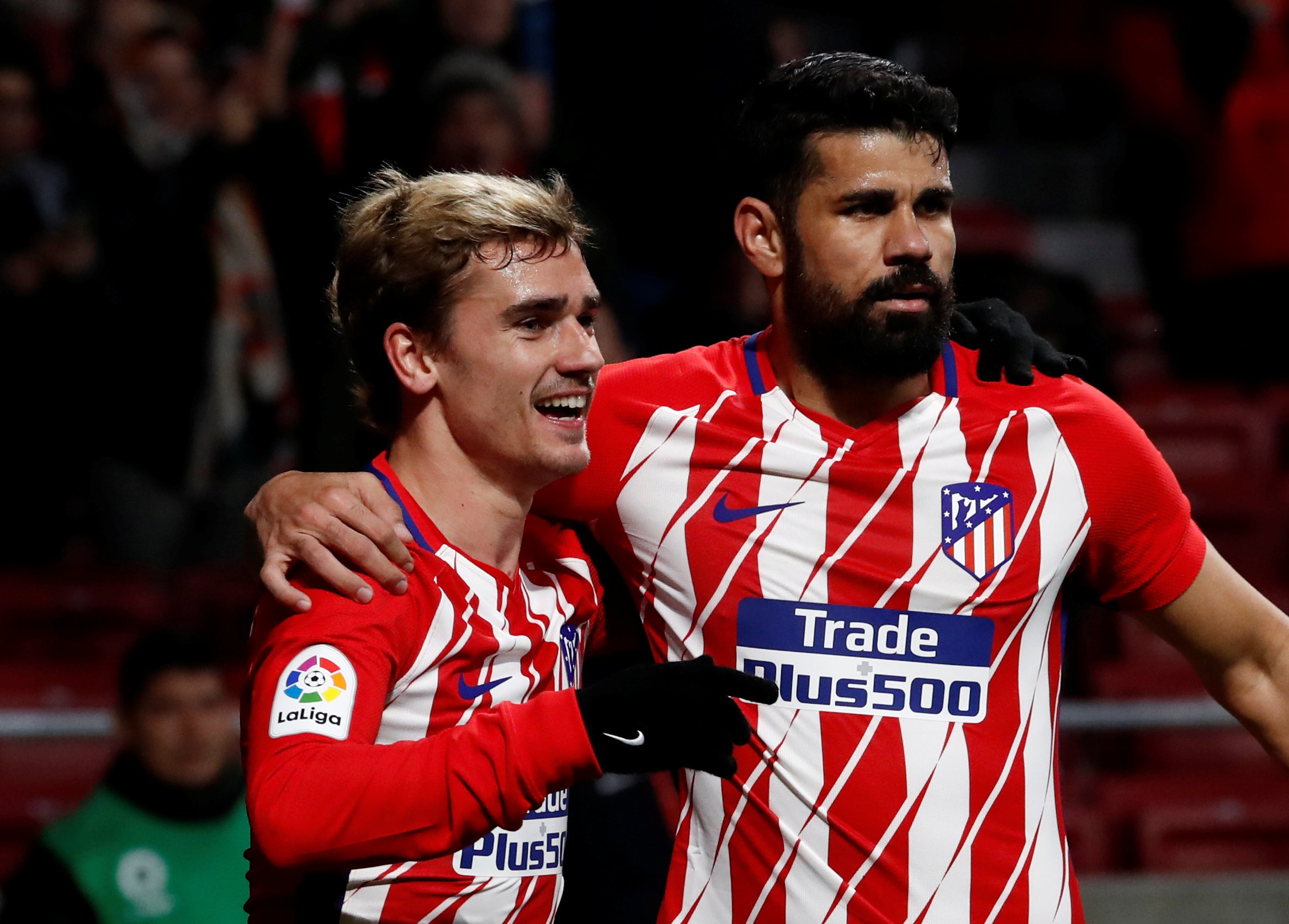Soccer Football - La Liga Santander - Atletico Madrid vs Leganes - Wanda Metropolitano, Madrid, Spain - February 28, 2018 Atletico Madrid???s Antoine Griezmann celebrates scoring their first goal with Diego Costa REUTERS/Juan Medina