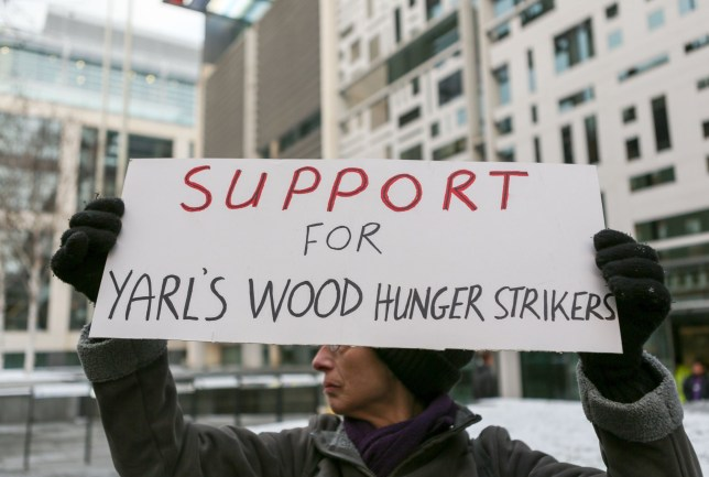 Mandatory Credit: Photo by Penelope Barritt/REX/Shutterstock (9445251k) A solidarity demonstration outside the Home Office to show support for the hunger strikers being held at Yarls Wood Detention Centre. Solidarity demonstration for Yarl's Wood hunger strikers, London, UK - 28 Feb 2018