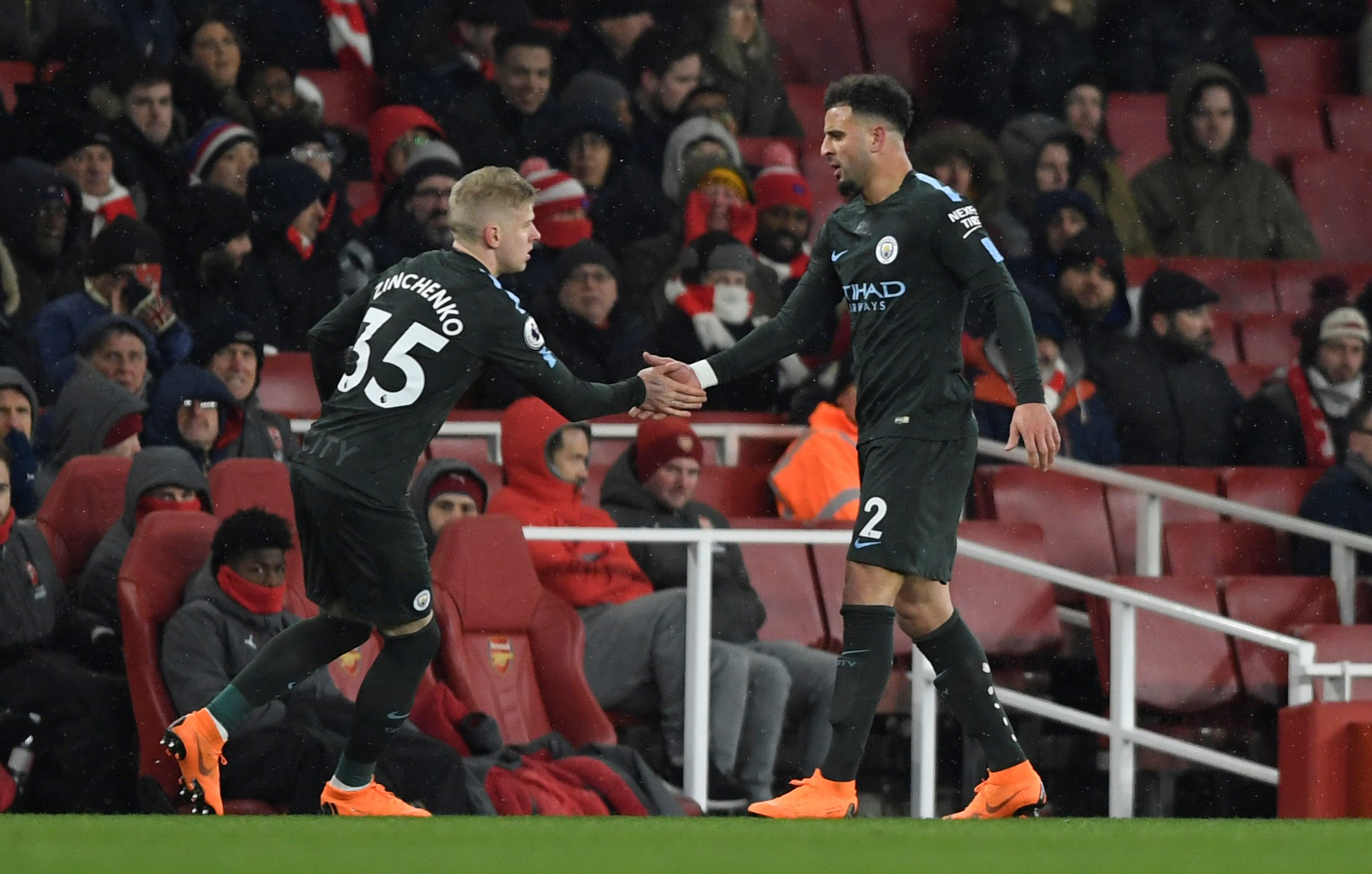 """Soccer Football - Premier League - Arsenal vs Manchester City - Emirates Stadium, London, Britain - March 1, 2018 Manchester City's Oleksandr Zinchenko comes on as a substitute to replace Kyle Walker Action Images via Reuters/Tony O'Brien EDITORIAL USE ONLY. No use with unauthorized audio, video, data, fixture lists, club/league logos or """"live"""" services. Online in-match use limited to 75 images, no video emulation. No use in betting, games or single club/league/player publications. Please contact your account representative for further details."""