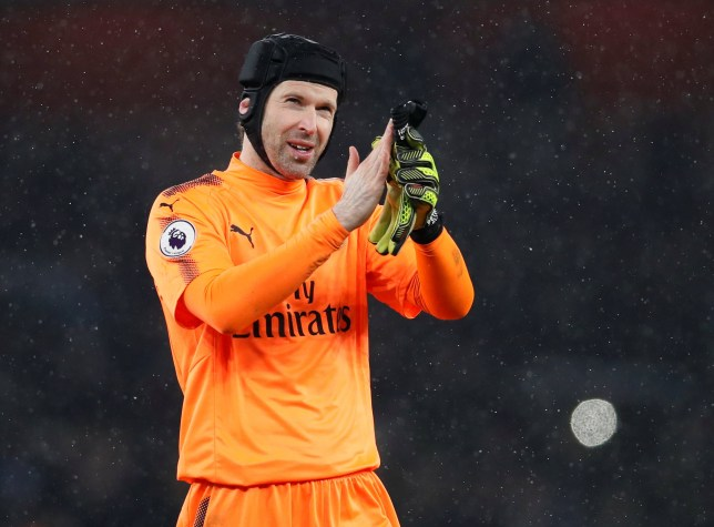 """Soccer Football - Premier League - Arsenal vs Manchester City - Emirates Stadium, London, Britain - March 1, 2018 Arsenal's Petr Cech applauds fans after the match REUTERS/David Klein EDITORIAL USE ONLY. No use with unauthorized audio, video, data, fixture lists, club/league logos or """"live"""" services. Online in-match use limited to 75 images, no video emulation. No use in betting, games or single club/league/player publications. Please contact your account representative for further details."""