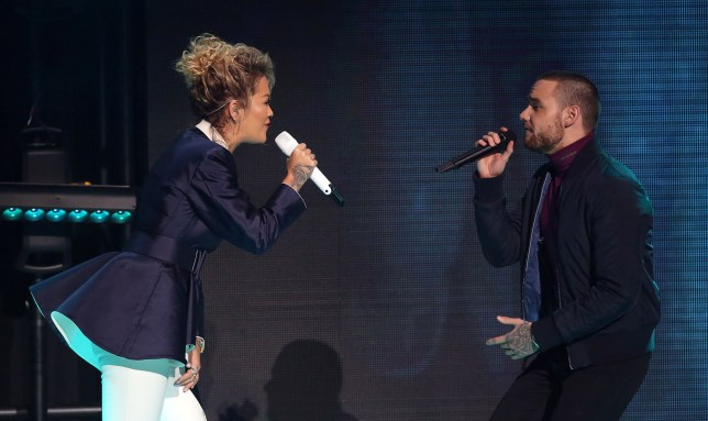 Rita Ora and Liam Payne on stage during The Global Awards, a brand new awards show hosted by Global, the Media & Entertainment group,?at London's Eventim Apollo Hammersmith. PRESS ASSOCIATION Photo. Picture date: Thursday March 1, 2018. See PA story SHOWBIZ Global. Photo credit should read: Angeles Rodenas/PA Wire