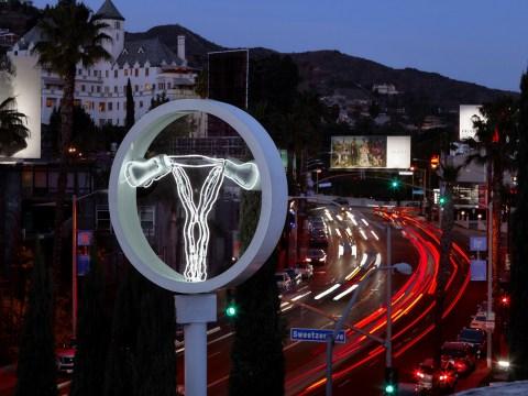There's a 43 feet tall neon uterus installation on Sunset Boulevard