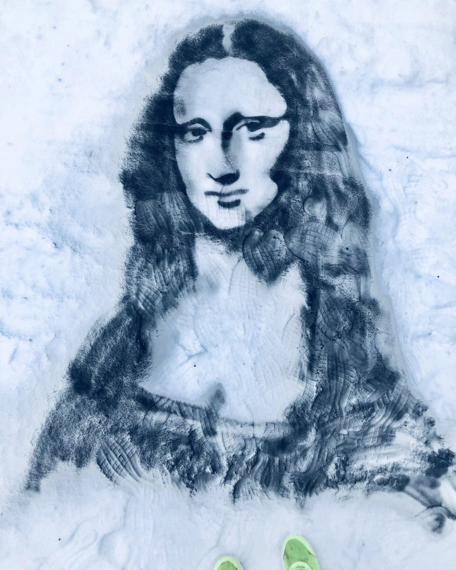 Pictured: Artist Nathan Wyburn's portrait of Mona Lisa in the snow. The snow and freezing temperatures created the perfect outdoors canvas for one artist - who was able to draw out Jon Snow and other famous faces. Artist Nathan Wyburn spent 30 minutes on each of his snow portraits of Game of Thrones' Jon Snow played by Kit Harrington, the Mona Lisa and Frozen star Idina Menzel, who voices Elsa in the popular Disney film. The portraits, which will eventually melt away, measure around 83.8cm tall (33.1in) and 59.4cm (23.4in) wide. Mr Wyburn, 28, of Cardiff, Wales, used a brush to remove excess snow and reveal the ground underneath to create the outline and shading for each artwork which he made near his home. Please byline: Nathan Wyburn/Solent News ? Nathan Wyburn/Solent News & Photo Agency UK +44 (0) 2380 458800