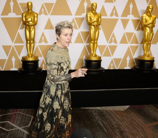 epa06581599 Frances McDormand, winner of the Best Actress for 'Three Billboards Outside Ebbing Missouri,' in the press room during the 90th annual Academy Awards ceremony at the Dolby Theatre in Hollywood, California, USA, 04 March 2018. The Oscars are presented for outstanding individual or collective efforts in 24 categories in filmmaking. EPA/PAUL BUCK