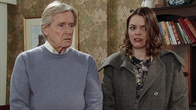 Editorial Use Only. No merchandising Mandatory Credit: Photo by ITV/REX/Shutterstock (8411395bi) Tracy Barlow's, as played by Kate Ford, shocked when an estate agent arrives at Preston's Petals explaining he's been instructed by the owner to put the premises on the market. As Tracy rails at Peter Barlow, as played by Chris Gascoyne, for pulling the rug from under her, Peter reveals his plans for the money to a shocked Tracy and Ken Barlow, as played by William Roache. (Ep 9118 - Fri 10 2017) 'Coronation Street' TV Series - Mar 2017