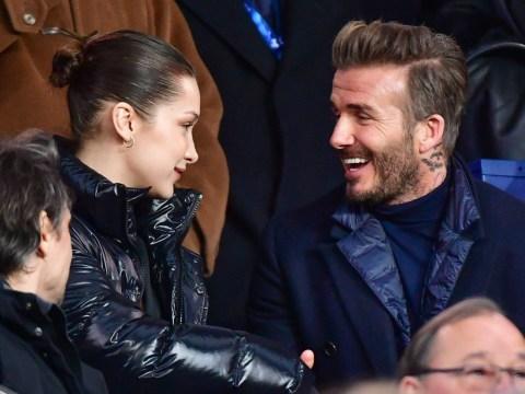 David Beckham looks delighted to meet Bella Hadid at Paris Saint-Germain match