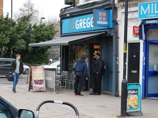 PASTY chain Greggs has begun employing BOUNCERS to keep rowdy sausage roll lovers in check. Several shops owned by the bakery giant now have full-time security guards on the door to prevent theft and keep an eye on drunken punters. - Picture of the bouncer of Greggs south bermondesy