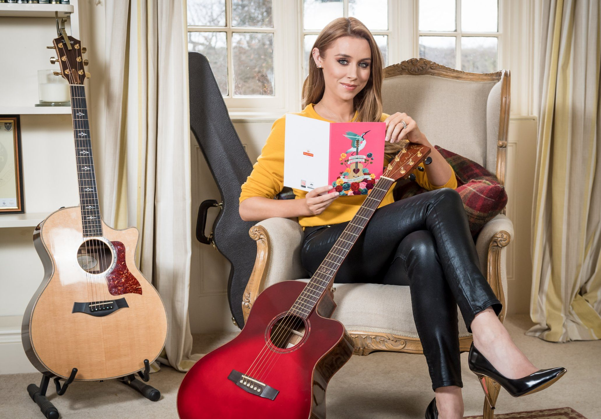 Una Healy with Mothers day card for Royal Mail