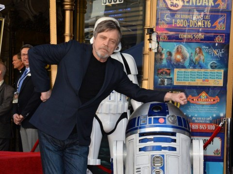 Star Wars' R2-2D helps Mark Hamill receive his Hollywood Walk of Fame star