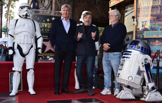 Mandatory Credit: Photo by Stewart Cook/Variety/REX/Shutterstock (9452418q) Harrison Ford, Mark Hamill and George Lucas Mark Hamil honored with a Star on the Hollywood Walk of Fame, Los Angeles, USA - 08 Mar 2018