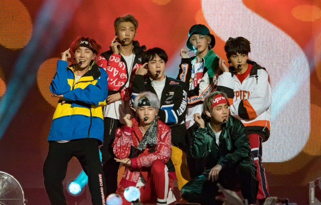 LOS ANGELES, CA - NOVEMBER 15: Korean K-pop band 'BTS' are seen at 'Jimmy Kimmel Live' on November 15, 2017 in Los Angeles, California. (Photo by RB/Bauer-Griffin/GC Images)