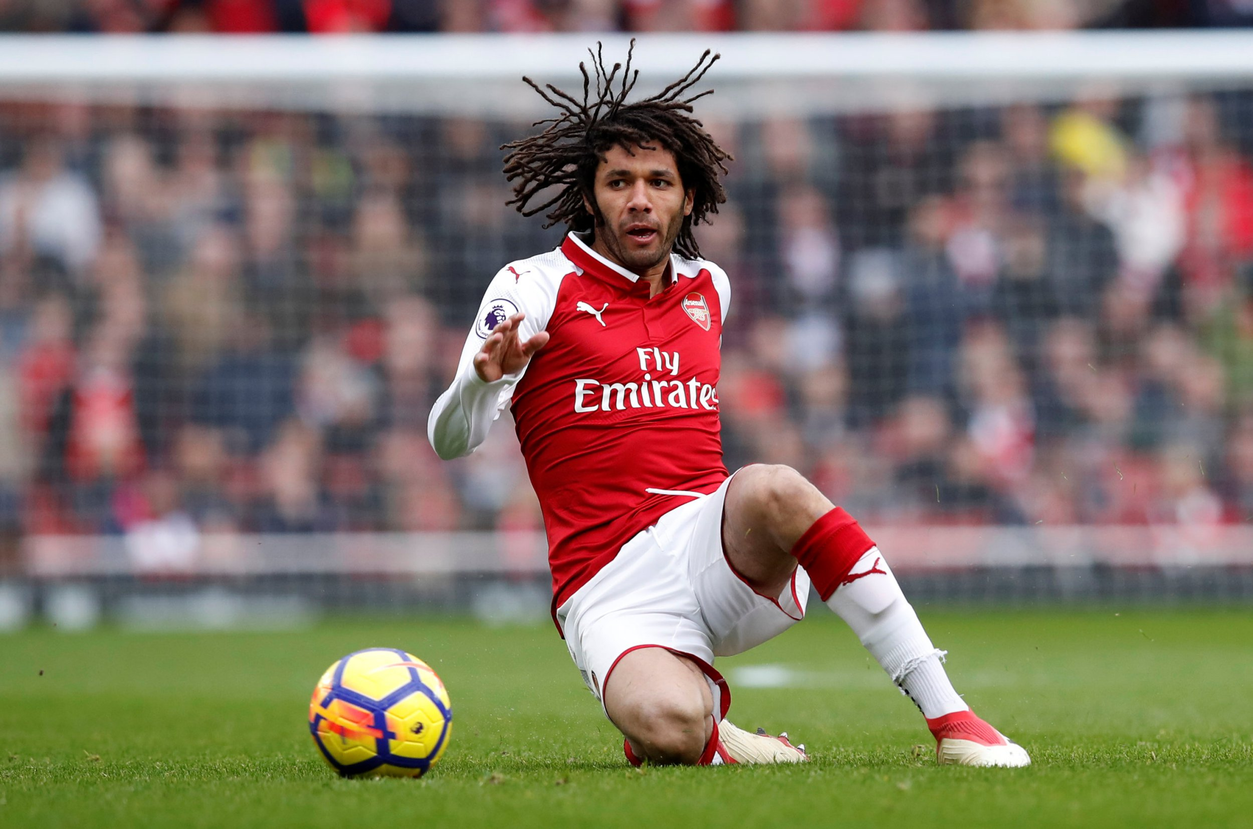 """Soccer Football - Premier League - Arsenal vs Watford - Emirates Stadium, London, Britain - March 11, 2018 Arsenal's Mohamed Elneny REUTERS/Eddie Keogh EDITORIAL USE ONLY. No use with unauthorized audio, video, data, fixture lists, club/league logos or """"live"""" services. Online in-match use limited to 75 images, no video emulation. No use in betting, games or single club/league/player publications. Please contact your account representative for further details."""
