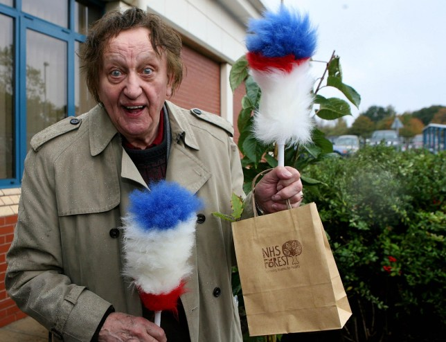 File photo dated 6/10/2009 of comedy legend Sir Ken Dodd, who has died aged 90, helping plant a tree at Alder Hey Children's Hospital in Knotty Ash, Liverpool. PRESS ASSOCIATION Photo. Issue date: Monday March 12, 2018. See PA story DEATH Dodd. Photo credit should read: Peter Byrne/PA Wire