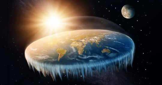 Flat Earth in space with sun and moon ; Shutterstock ID 743886001