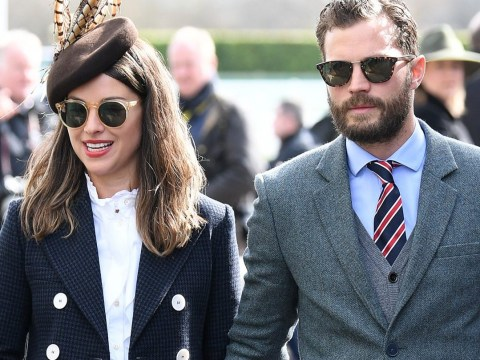 Jamie Dornan and wife Amelia Warner look loved-up as they enjoy rare date at Cheltenham Festival