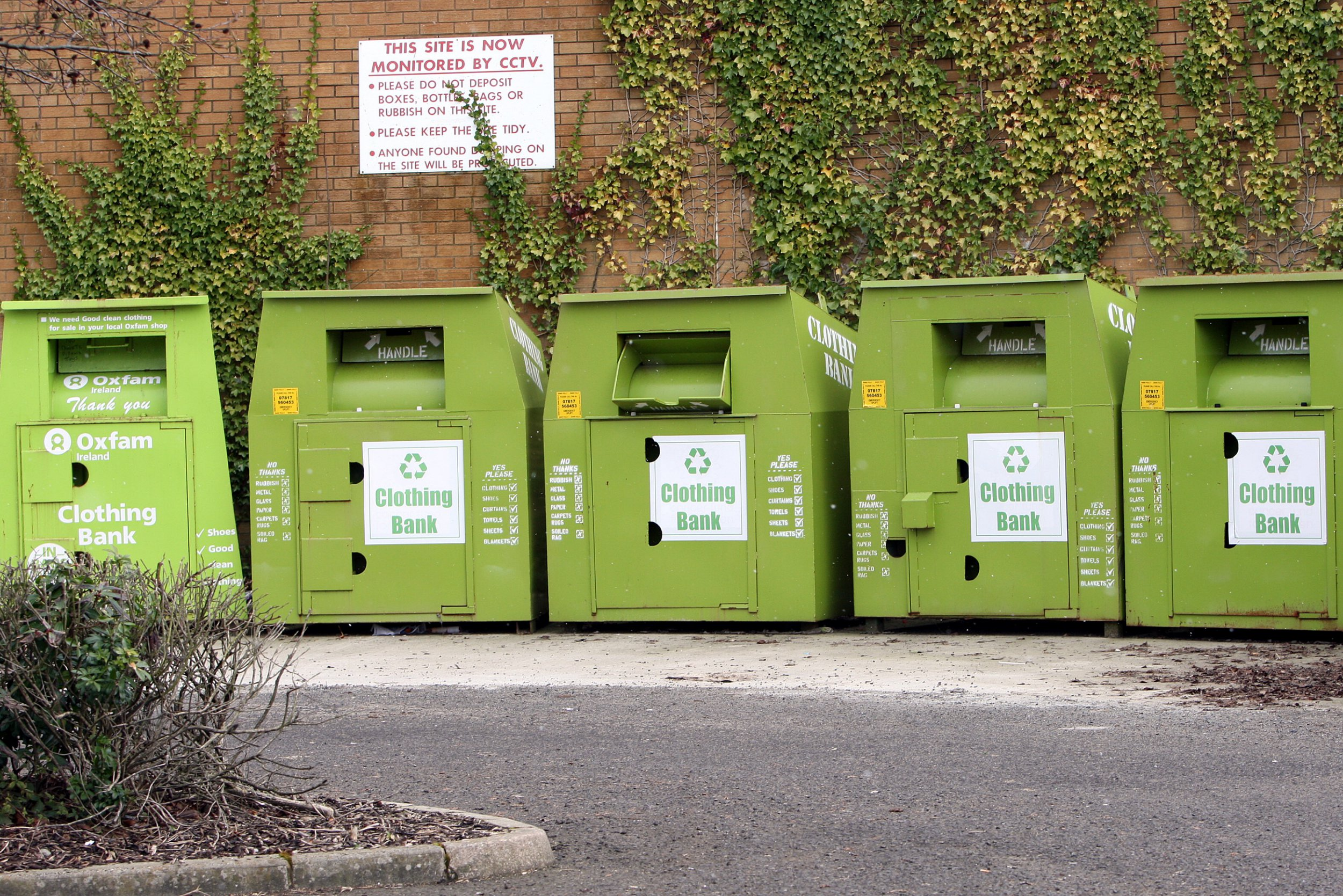 A general view of Clothes Recycling bins