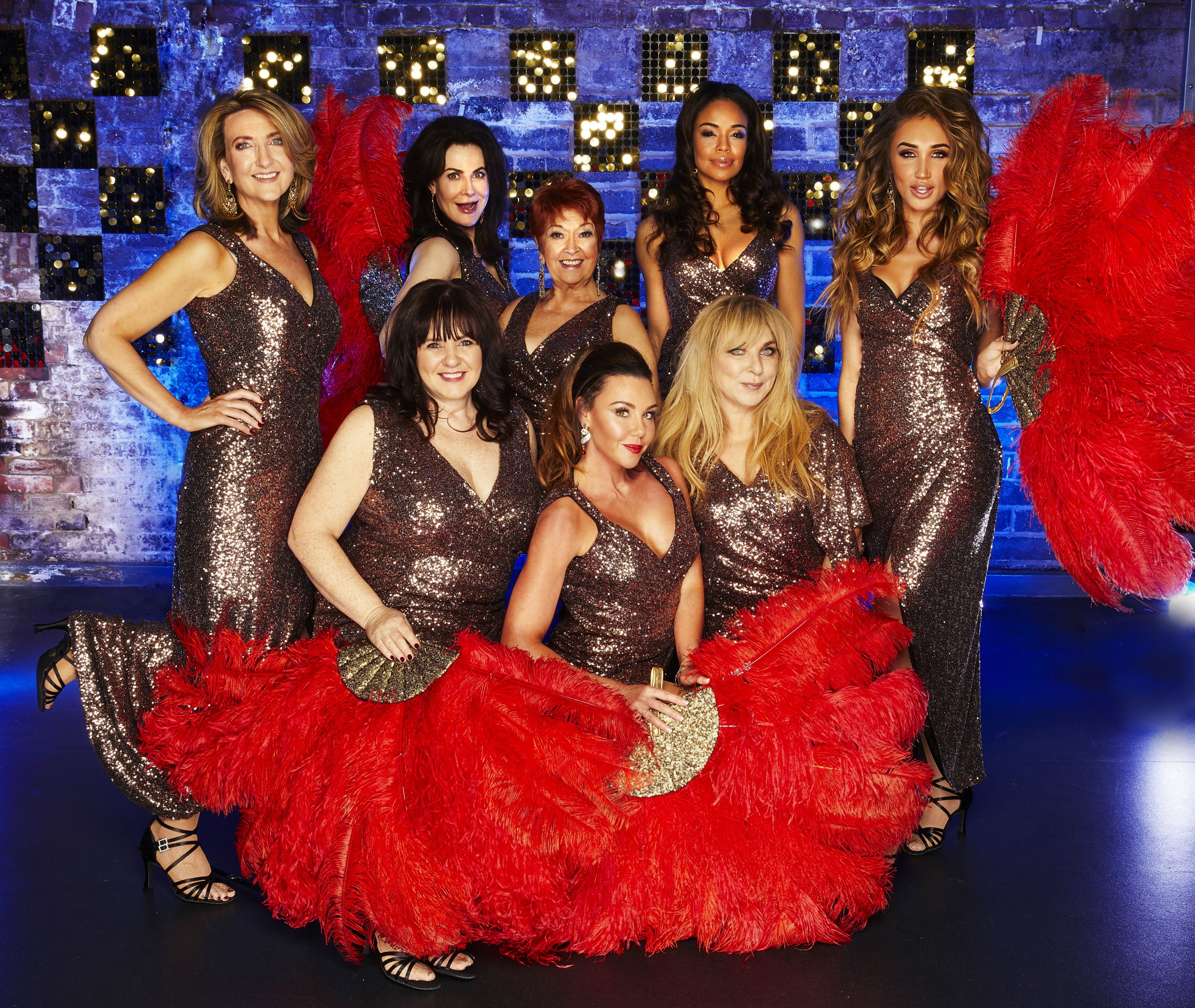 STRICTLY EMBARGOED PICTURE: FOR PUBLICATION FROM TUESDAY 20th MARCH 2018 From Spungold Productions THE REAL FULL MONTY : LADIES NIGHT Thursday 29th March 2018 on ITV Pictured: (l-r, backrow) Victoria Derbyshire, Sally Dexter, Ruth Madoc, Sarah-Jane Crawford and Megan McKenna. (l-r front row) Colleen Nolan, Michelle Heaton and Helen Lederer Hot on the heels of the return of ?The Real Full Monty?, eight female celebrities are gearing up for the performance of their lives in ?The Real Full Monty: Ladies? Night?, determined to show the boys how it?s done and raise awareness of breast cancer. This ?sister? commission to The Real Full Monty will see two unforgettable nights running on ITV. The men?s Real Full Monty might be bigger and better than ever before, but the eight brave ladies ready to take them on are TV presenter Coleen Nolan, broadcaster Victoria Derbyshire, Emmerdale actress Sally Dexter, reality TV star Megan McKenna, former Liberty X singer Michelle Heaton, actress Helen Lederer, TV legend Ruth Madoc and presenter Sarah-Jane Crawford - for all of whom the issue of breast cancer awareness is close to their hearts. The ladies? mission is to pull together to create a show-stopping performance that will wow the audience as they battle to overcome their nerves and inhibitions, learn to love their bodies and dare to bare for a good cause. Along the way they visit the legendary Moulin Rouge in Paris to get inspiration for the show. ? ITV Photographer: Nicky Johnston This photograph is ? ITV and can only be reproduced for editorial purposes directly in connection with the programme THE REAL FULL MONTY : LADIES NIGHT or ITV. Once made available by the ITV Picture Desk, this photograph can be reproduced once only up until the Transmission date and no reproduction fee will be charged. Any subsequent usage may incur a fee. This photograph must not be syndicated to any other publication or website, or permanently archived, without the express written permission of ITV Picture Desk. Full Terms and conditions are available on the website www.itvpictures.com