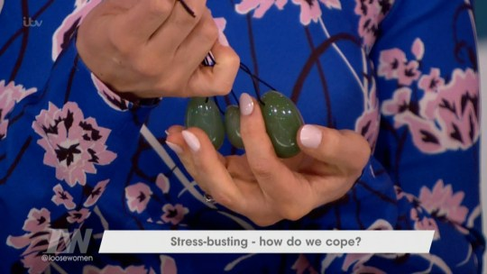 "****Ruckas Videograbs**** (01322) 861777 *IMPORTANT* Please credit ITV for this picture. 22/03/18 Loose Women - ITV1 Grabs from this afternoon's show which saw Catherine Tyldesley talking about how vagina crystals can help beat stress. During a talk about methods of stress-busting, the actress got out some crystals and spoke about how a friend sits in a group where they put their legs in the air and insert the crystals in their vagina. The conversation resulted in host Christine Lampard struggling to get her words out while Nadia joked to Catherine ""You have oficially made yourself a Loose Woman!"". Janet Street Porter was not convinced by the idea of it but Catherine said it is supposed leave you at one with your cervix. Office (UK) : 01322 861777 Mobile (UK) : 07742 164 106 **IMPORTANT - PLEASE READ** The video grabs supplied by Ruckas Pictures always remain the copyright of the programme makers, we provide a service to purely capture and supply the images to the client, securing the copyright of the images will always remain the responsibility of the publisher at all times. Standard terms, conditions & minimum fees apply to our videograbs unless varied by agreement prior to publication."