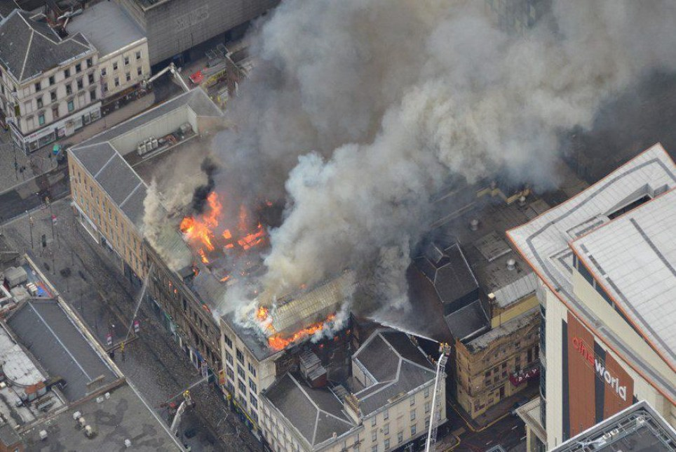 Aerial view of the scene of a fire on Glasgow's Sauchiehall Street. The alarm was raised around 8.25 am. The fire is thought to have started above the Holland and Barratt shop, near Victoria's nightclub. March 22 2018.