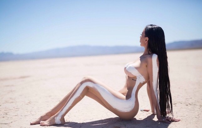 PICS BY SUNNIE HEERS / CATERS NEWS - (PICTURED: Jennifer who has spent over trying to look like Kim Kardashian-West went out into the desert near Las Vegas, to replicate the Kardashians famous naked photoshoot where all she wore was a white painted line) - A Kim Kardashian lookalike poses for naked shoot after recent face altering surgery brings total spent imitating idol to HALF A MILLION DOLLARS. Jennifer Pamplona, 25, from Sao Paolo, Brazil, glows as she shows off her curvaceous figure covered in only glittery paint for a shoot inspired by the Keeping Up With The Kardashians star. She has spent a staggeringUSD500,000(350kGBP) transforming close to every inch of her body, from having four ribs removed to four pints (900cc) of fat injected into her butt. Recently she went under the knife again for her second nose job, to remove cheek fillers and had a face lift to closely resemble the Break the Internet model. The diva doppelganger has just recovered from the USD30k (21kGBP) procedures with Dr Bulent Cihantimur, in Turkey, that initially left her unable to smile. The entrepreneur already has future plans to increase the size of her extremely enlarged derriere further, despite doctors rejecting the idea. She believes she will be able to model way into her late 60s thanks to the alterations and finally likes posing naked, as seen in her shoot imitating Kim Kardashian-Wests photos for KKW Beauty. - SEE CATERS COPY