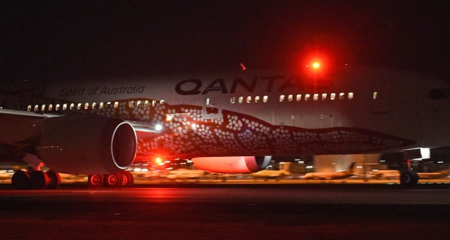 Qantas' 787 Dreamliner takes off on its inaugural flight from Perth to London on March 24, 2018. Qantas' 14,498 kilometre (9,009-mile) journey from the southwestern city to London is the world's third-longest passenger flight, the Australian carrier said, and the first ever regular service to connect the two continents directly. / AFP PHOTO / Greg WoodGREG WOOD/AFP/Getty Images