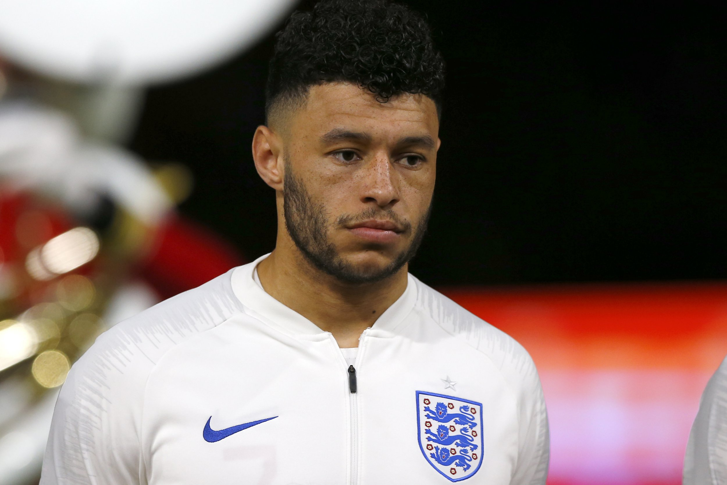 England's Alex Oxlade-Chamberlain lines up prior to the international friendly soccer match between the Netherlands and England at the Amsterdam ArenA in Amsterdam, Netherlands, Friday, March 23, 2018. (AP Photo/Peter Dejong)