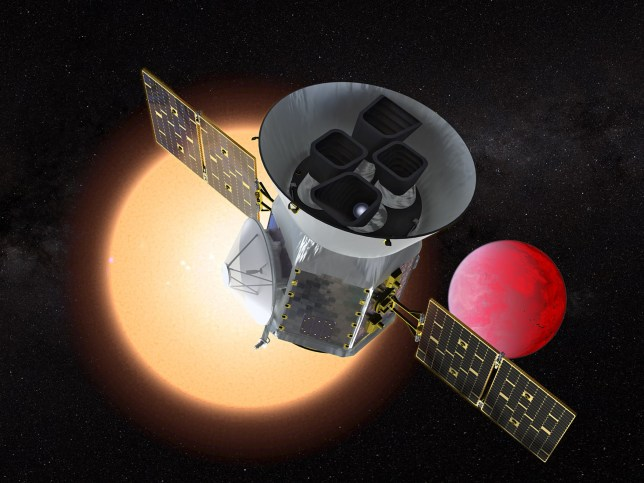 "This NASA handout artist's illustration obtained March 25, 2018, shows the Transiting Exoplanet Survey Satellite (TESS), a NASA Explorer mission launching in 2018 to study exoplanets, or planets orbiting stars outside our solar system. TESS will discover thousands of exoplanets in orbit around the brightest stars in the sky. Scheduled to launch April 16,2018, TESS is expected to find thousands of planets outside our solar system, known as exoplanets, orbiting the nearest and brightest stars in our cosmic neighborhood. Powerful telescopes like NASAs upcoming James Webb Space Telescope can then further study these exoplanets to search for important characteristics, like their atmospheric composition and whether they could support life. / AFP PHOTO / NASA/GSFC / Handout / RESTRICTED TO EDITORIAL USE - MANDATORY CREDIT ""AFP PHOTO /NASA/GSFC/HANDOUT"" - NO MARKETING NO ADVERTISING CAMPAIGNS - DISTRIBUTED AS A SERVICE TO CLIENTS HANDOUT/AFP/Getty Images"