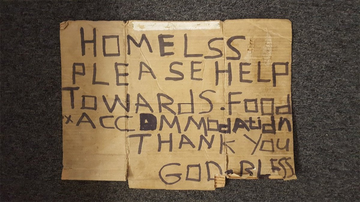 Police say they have exposed a beggar with a ???homeless??? sign as a ???fraud??? after discovering he was living in a hostel METRO GRAB taken from: https://twitter.com/GMPCityCentre/status/977691830077751296 Credit: GMP City Centre/Twitter