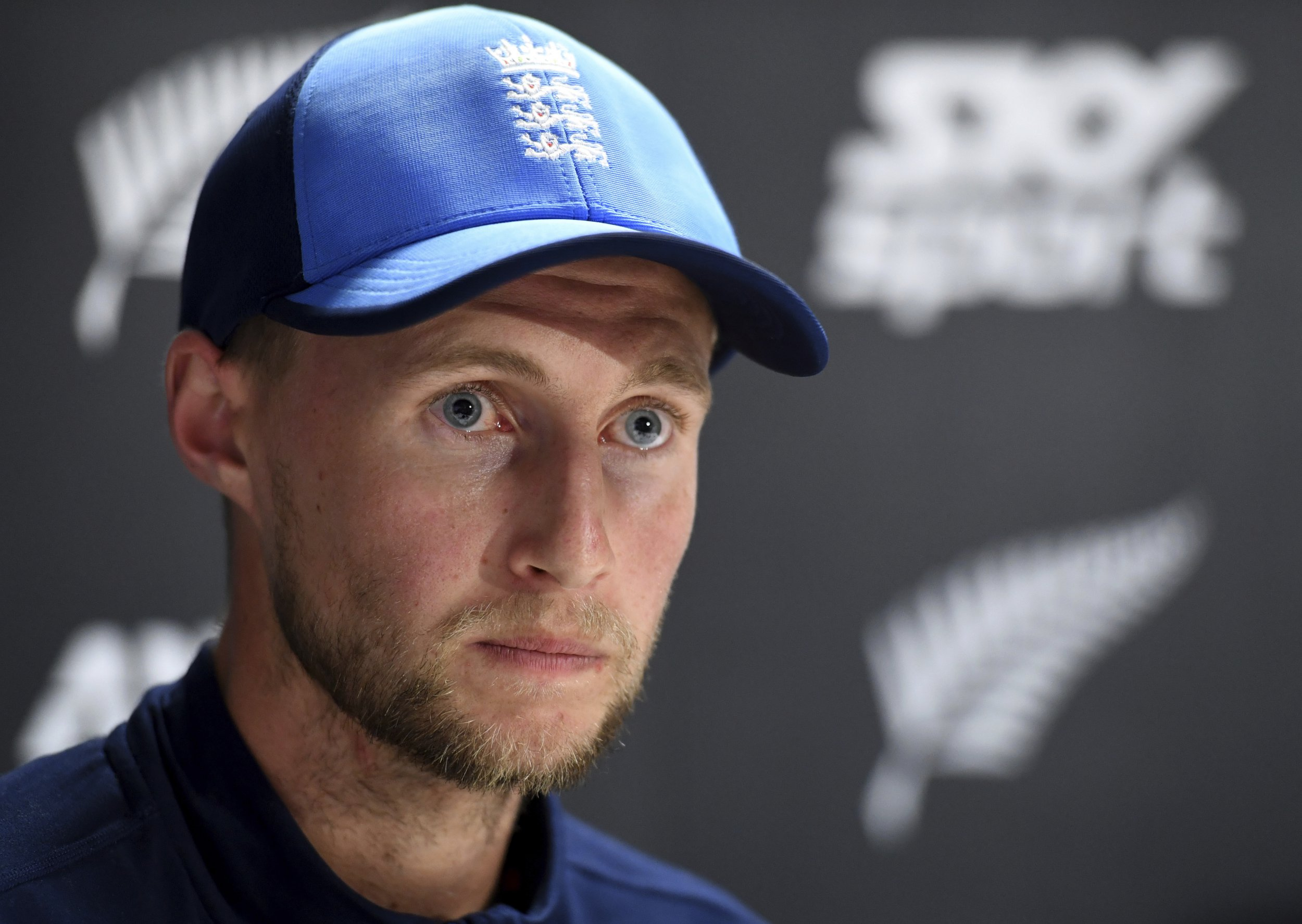 England captain Joe Root answers questions at a press conference following his teams innings and 49 run defeat to New Zealand in the first cricket test in Auckland, New Zealand, Monday, March 26, 2018. (AP Photo/Ross Setford)