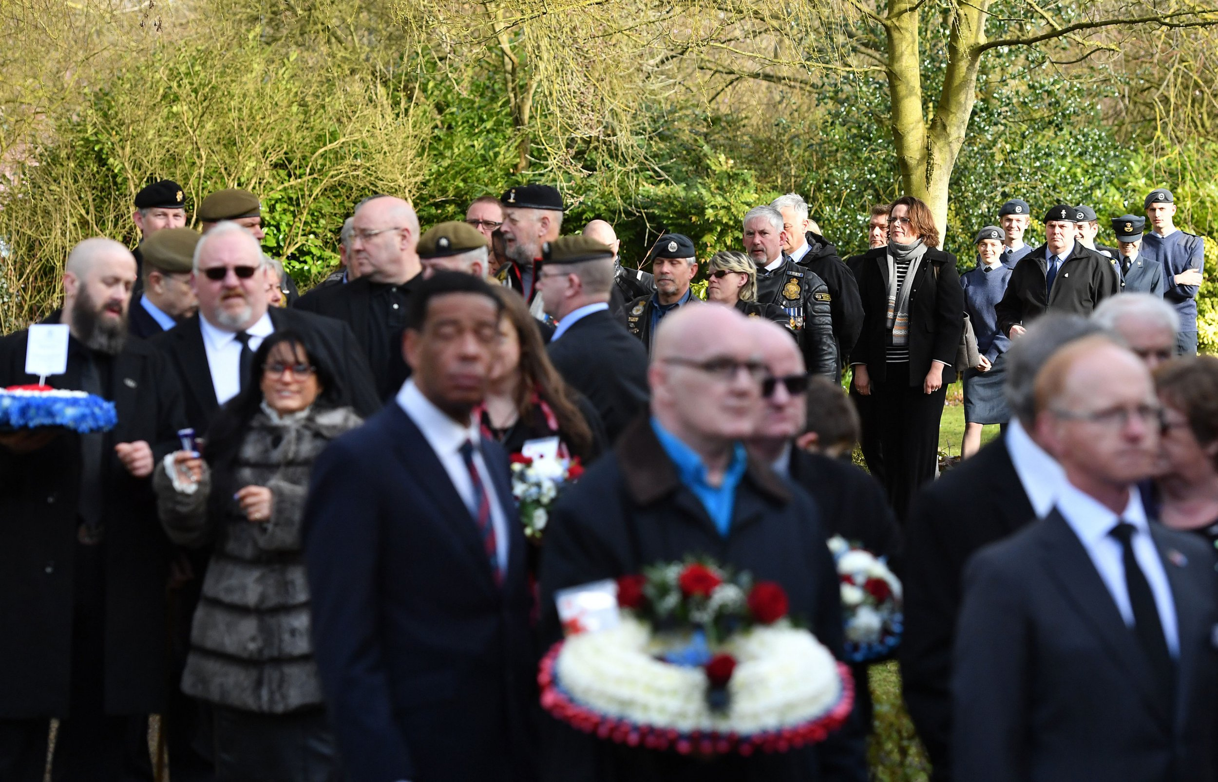 Mourners attend the funeral of Kenneth White, an RAF veteran who died with no known family, at Cambridge City Crematorium. PRESS ASSOCIATION Photo. Picture date: Monday March 26, 2018. A Facebook appeal was launched for people to attend the funeral of Mr White, who died at the age of 84. See PA story FUNERAL Veteran. Photo credit should read: Joe Giddens/PA Wire