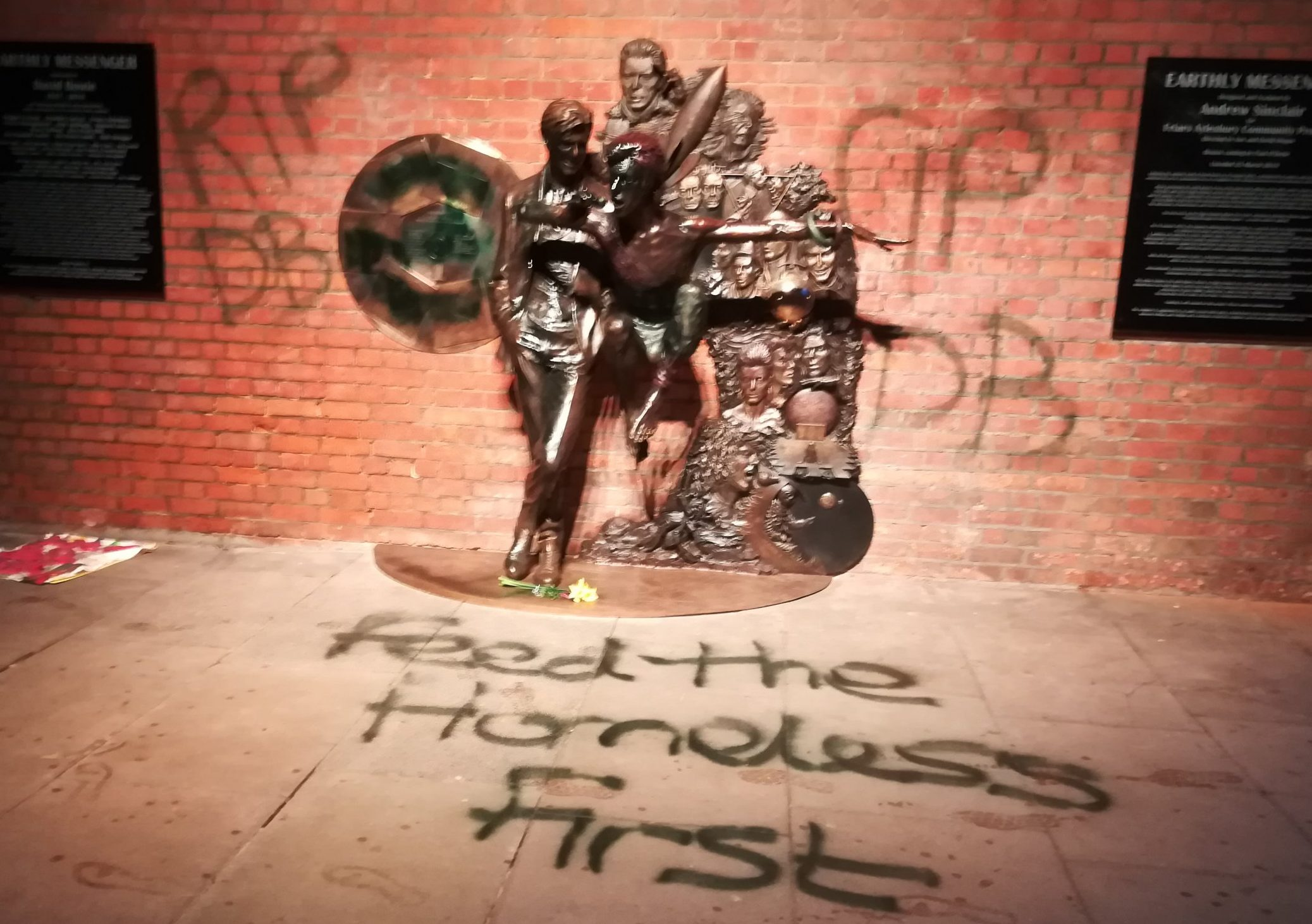 Someone's already vandalised David Bowie statue with 'feed the homeless' Aylesbury picture: Mix96 PERMISSION GRANTED TO Metro.co.uk