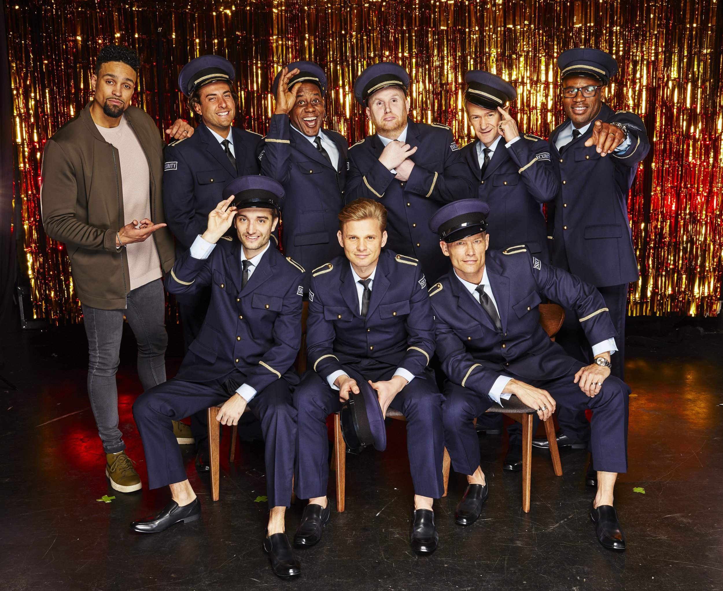 "STRICTLY EMBARGOED PICTURE: FOR PUBLICATION FROM TUESDAY 20th MARCH 2018 From Spungold Productions THE REAL FULL MONTY : Wednesday 28th March 2018 on ITV Pictured: (l-r, back row) Ashley Banjo James ""Arg"" Argent , Ainsley Harriott, John Hartson, Alexander Armstrong, Ugo Monye (front row, l-r) Tom Parker, Jeff Brazier, and John Partridge One of the biggest and boldest TV hits of last year is back for a brand new full-frontal extravaganza! A fresh set of stars learn a new super-sized version of the sexy Full Monty routine from scratch, before fully stripping to raise awareness for prostate and testicular cancer. Once again, Alexander Armstrong and Ashley Banjo and will lead the group. The brave men taking part this year are, TOWIE star James 'Arg' Argent, presenter Jeff Brazier, The Wanted???s Tom Parker, Eastenders actor John Partridge, ex-Arsenal footballer John Hartson, chef Ainsley Harriott and retired England Rugby International Ugo Monye. ?? ITV Photographer: Nicky Johnston This photograph is ?? ITV and can only be reproduced for editorial purposes directly in connection with the programme THE REAL FULL MONTY : or ITV. Once made available by the ITV Picture Desk, this photograph can be reproduced once only up until the Transmission date and no reproduction fee will be charged. Any subsequent usage may incur a fee. This photograph must not be syndicated to any other publication or website, or permanently archived, without the express written permission of ITV Picture Desk. Full Terms and conditions are available on the website www.itvpictures.com"