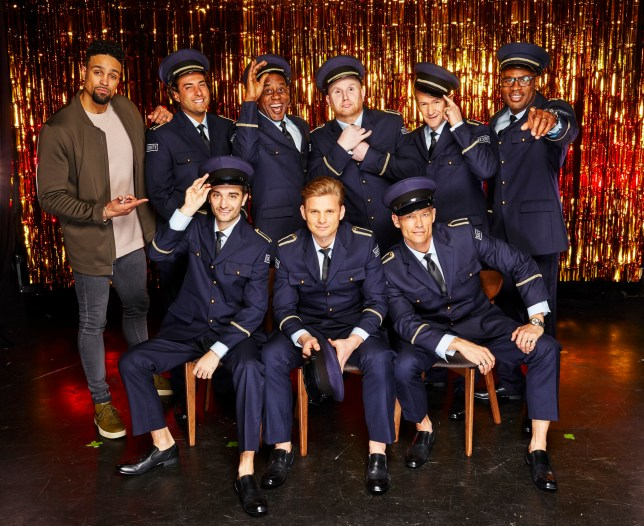 """STRICTLY EMBARGOED PICTURE: FOR PUBLICATION FROM TUESDAY 20th MARCH 2018 From Spungold Productions THE REAL FULL MONTY : Wednesday 28th March 2018 on ITV Pictured: (l-r, back row) Ashley Banjo James """"Arg"""" Argent , Ainsley Harriott, John Hartson, Alexander Armstrong, Ugo Monye (front row, l-r) Tom Parker, Jeff Brazier, and John Partridge One of the biggest and boldest TV hits of last year is back for a brand new full-frontal extravaganza! A fresh set of stars learn a new super-sized version of the sexy Full Monty routine from scratch, before fully stripping to raise awareness for prostate and testicular cancer. Once again, Alexander Armstrong and Ashley Banjo and will lead the group. The brave men taking part this year are, TOWIE star James 'Arg' Argent, presenter Jeff Brazier, The Wanted???s Tom Parker, Eastenders actor John Partridge, ex-Arsenal footballer John Hartson, chef Ainsley Harriott and retired England Rugby International Ugo Monye. ?? ITV Photographer: Nicky Johnston This photograph is ?? ITV and can only be reproduced for editorial purposes directly in connection with the programme THE REAL FULL MONTY : or ITV. Once made available by the ITV Picture Desk, this photograph can be reproduced once only up until the Transmission date and no reproduction fee will be charged. Any subsequent usage may incur a fee. This photograph must not be syndicated to any other publication or website, or permanently archived, without the express written permission of ITV Picture Desk. Full Terms and conditions are available on the website www.itvpictures.com"""