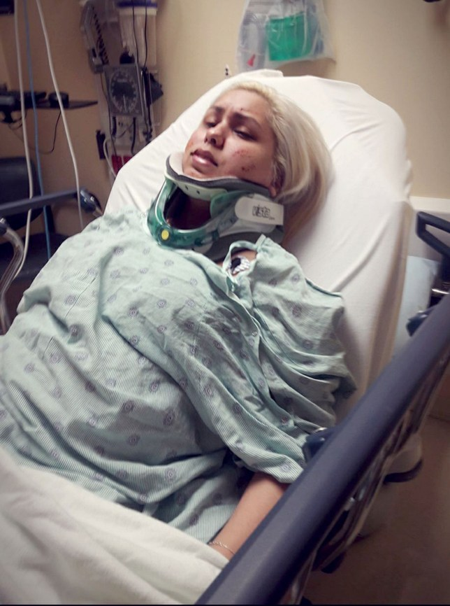 PIC FROM Caters News - (PICTURED: Ashley Bosma, 28, from Hollywood, Florida, who suffers from foreign accent syndrome. Pictured in hospital after she was attacked in her home last October) - An American woman has woken up with a posh English accent after being hit in the head during a break in.Ashley Bosma, 28, was alone in the family home when an intruder attacked her last October leaving her unconscious.After being treated in hospital for a head injury, Ashley, from Hollywood, Florida, went back to her normal life despite still suffering with memory problems and brain fog.SEE CATERS COPY