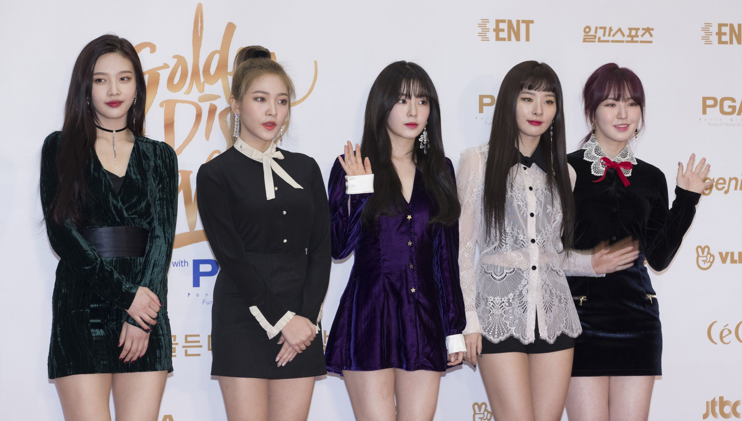 10 January 2018 - Goyang, South Korea : South Korean K-Pop girl group Red Velvet, attend a photo call for the 32nd Golden Disk Award at KINTEX in Goyang, South Korea on January 10, 2018. Photo Credit: Lee Young-ho