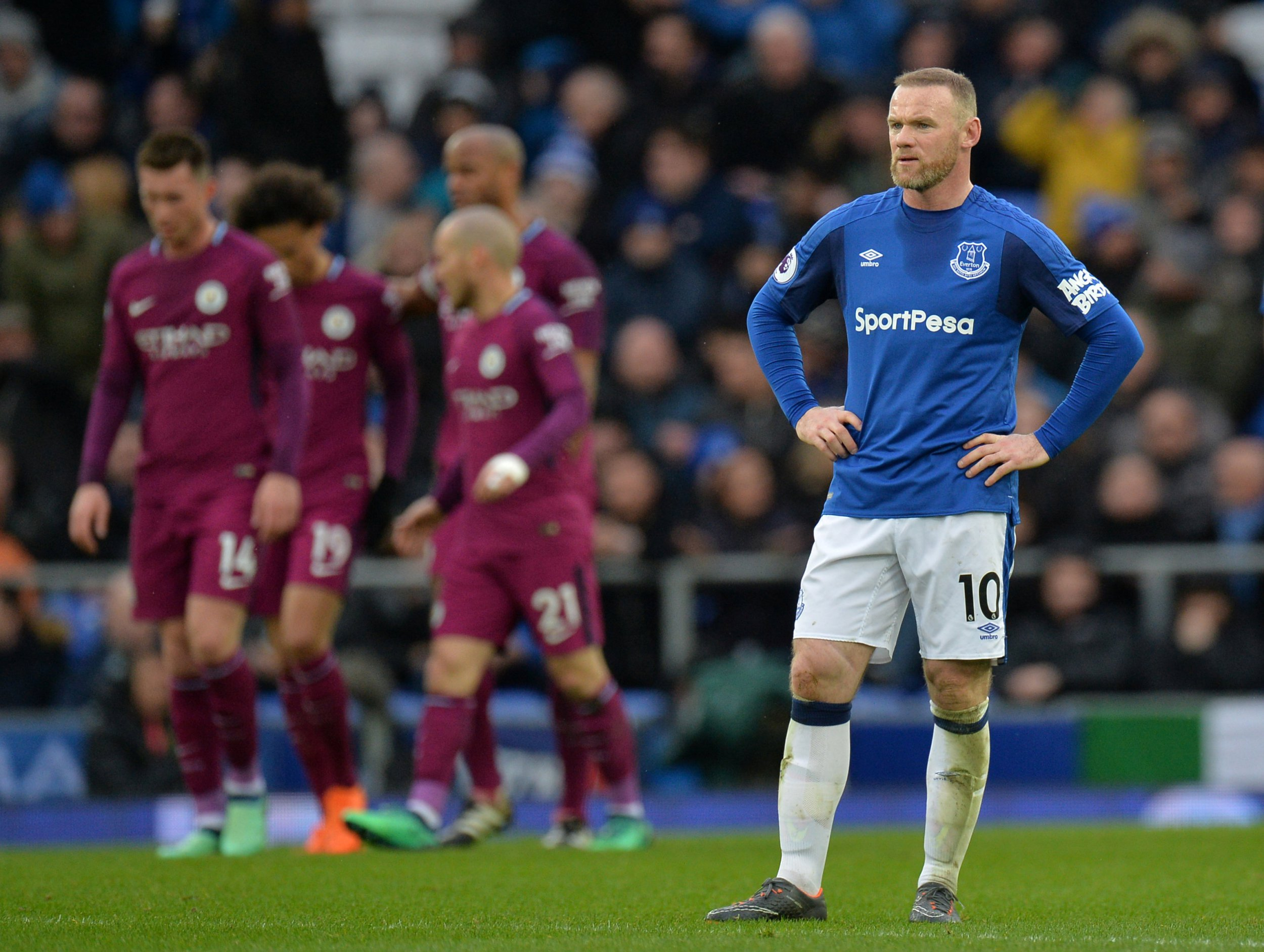 Leroy Sane and Kevin De Bruyne humiliate Wayne Rooney during Manchester City's win over Everton