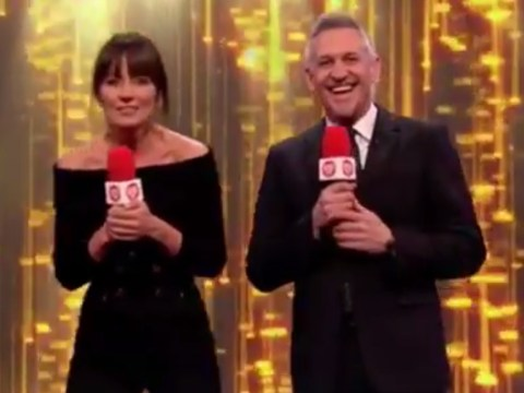 Gary Lineker makes Davina McCall jump as he accidentally sets off pyrotechnic live on Sports Relief