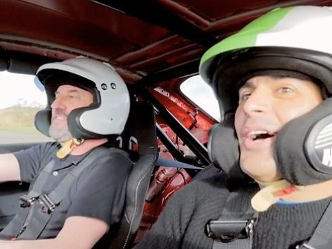 Lee Mack is a nervous wreck on Top Gear as he barrels around track with Chris Harris