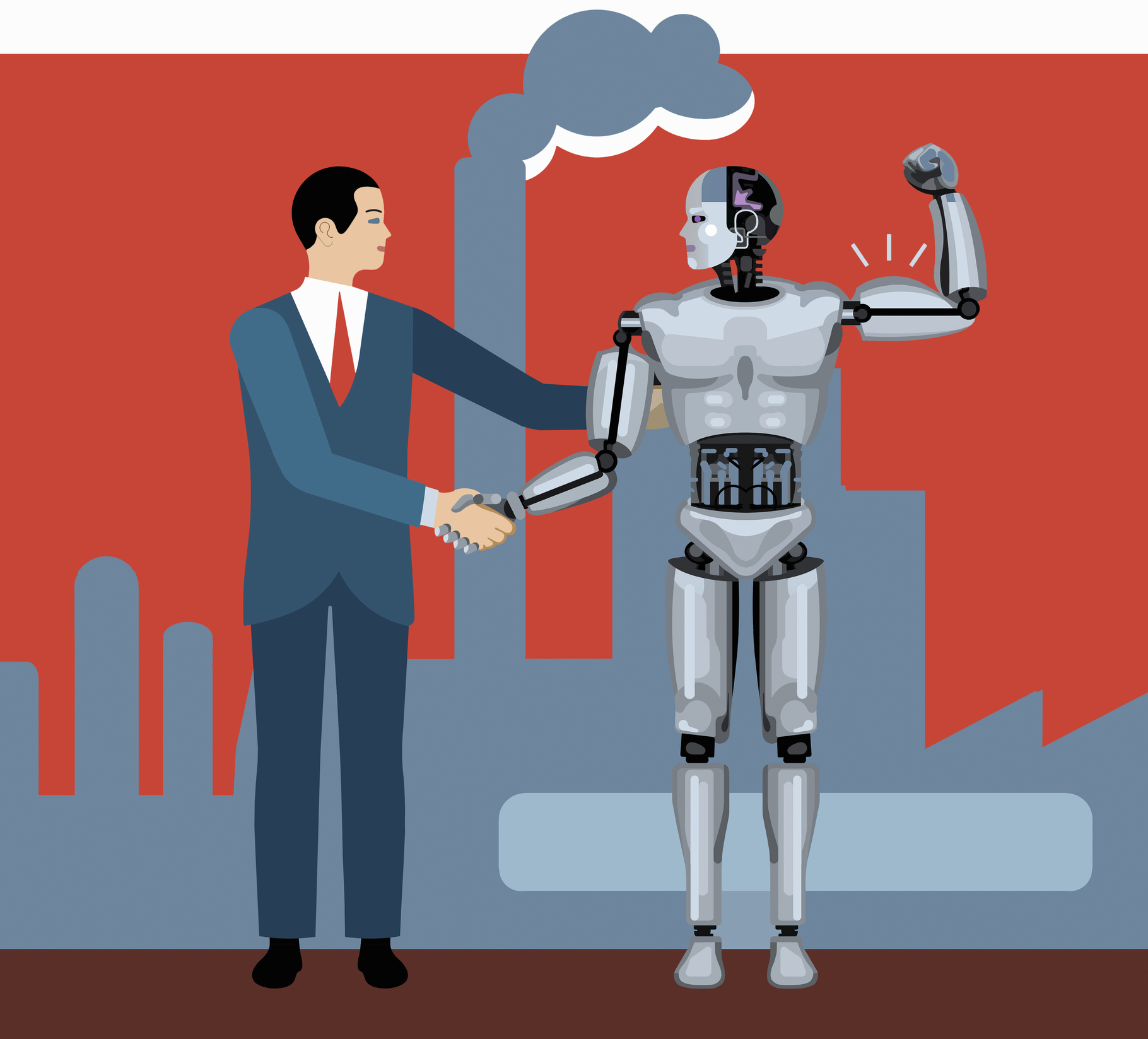 Illustration of human shaking hands with a robot