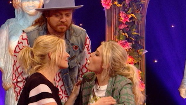 Holly Willoughby and Lucy Fallon get eggs-tremely close as they pass an egg using just their mouths