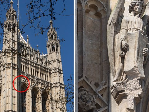 Huge chunk of stone falls off Houses of Parliament crashing 230ft to the ground