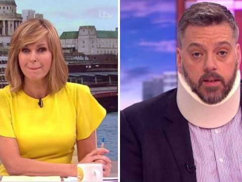 Kate Garraway in hysterics at Iain Lee falling down a well as he appears in neck brace