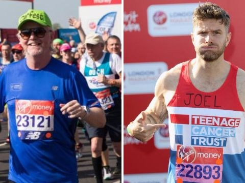 Joel Dommett and Chris Evans lead celebs across London Marathon finishing line as Katie Price pulls out