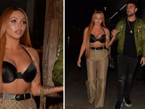 Little Mix's Jesy Nelson braves the nippy weather to wear nothing but a bra and Gucci trousers