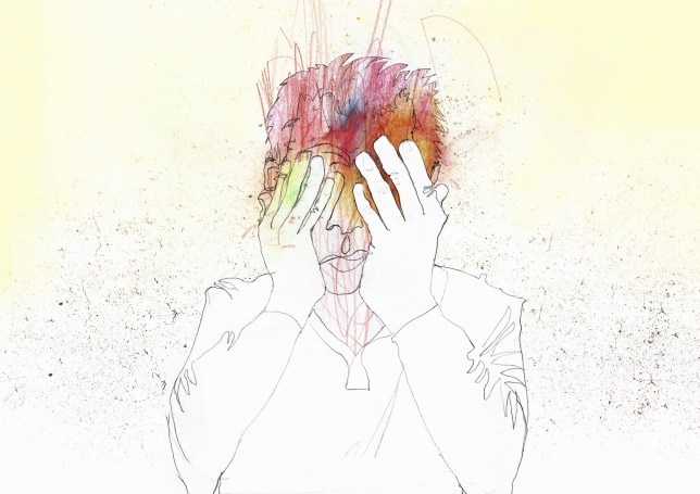 Illustration of person with migraine