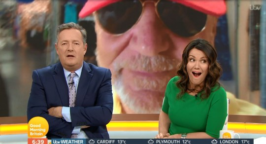 Piers Morgan showed off his skills as an impressionist when he likened Lord Sugar to Pablo Escobar on GMB (Picture: ITV/Good Morning Britain)