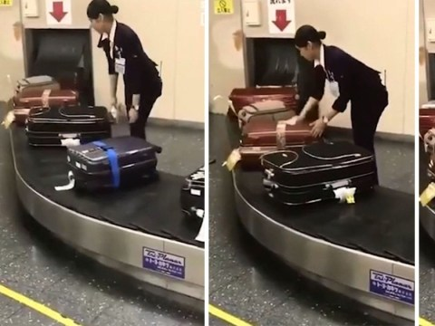 Shocking video reveals how baggage handlers deal with luggage in Japan