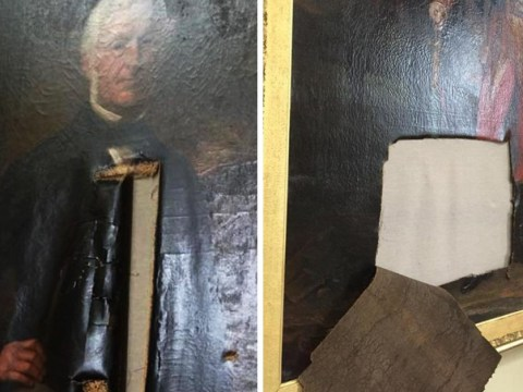 'Priceless' paintings slashed inside town hall after gang 'failed to find any cash'