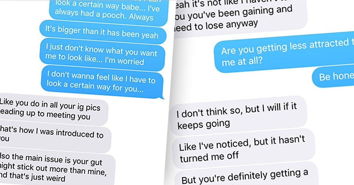 Boyfriend bodyshames girlfriend saying it's weird her 'beer gut' is bigger than his